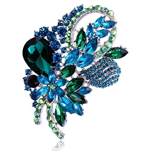 Broche de Jolie Fleur Strass en Alliage Vintage Elégante Femmes Mode Coloré - Vert
