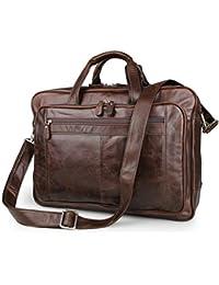"""Lightpurple Portátil de Cuero para Hombre Hecho a Mano Unisex 17""""Todos los días Crossover Work iPad Hombro Messenger Briefcase Bag (marrón) (Color : Coffee)"""