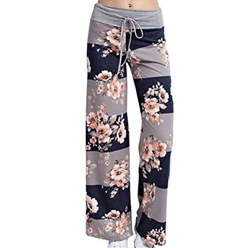 Zhhlinyuan Fashion Floral Printed Drawstring Trousers Pajama Lounge Wide Leg Pants Women High Waist Hosen Damen Stretch Elegant (Leg Printed Wide Pants)