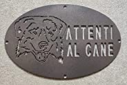 """Targa/Targhetta/Cartello""""ATTENTI AL CANE"""" in ferro Disegno Laser Australian She"""