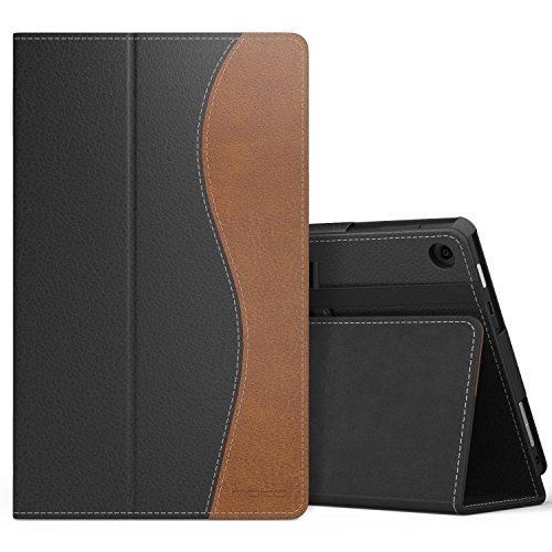MoKo Étui Housse pour tablette Fire HD 8 - Fin et Pliable pour Tablette Fire HD 8 (6ème génération - modèle 2016), Bleu (Auto Réveil / sommeil) Noir et Marron