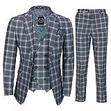 Xposed Uomo 3 Tuta Retro Tailored Fit Grigio Griglia Blu Controllare Doppio Petto Giacca Gilet Pantalone[SUIT-905-2-C9-GREY-42]