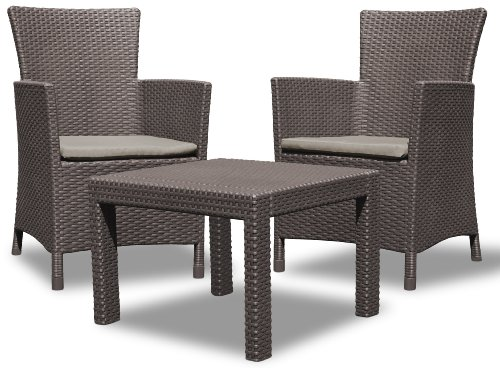 Allibert 219991 Lounge Set Rosario Balcony 2x Sessel und 1x Tisch, Rattanoptik, Kunststoff, braun