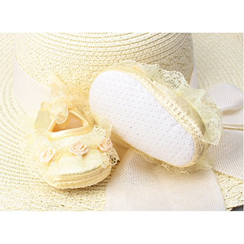 Zhuhaitf Ausgezeichnet Baby Girl Soft bottom Princess Shoes Newborn Lace Flower Non-Slip Shoes xsx012 Yellow