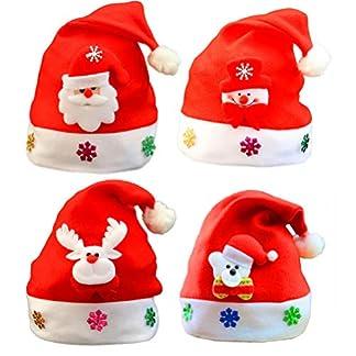 BESTOYARD Sombreros de Navidad en Forma de Muñeco de Nieve Elk Oso Gorro de Navidad Gorro Papa Noel para Adultos y Niños Rojo 4 Piezas