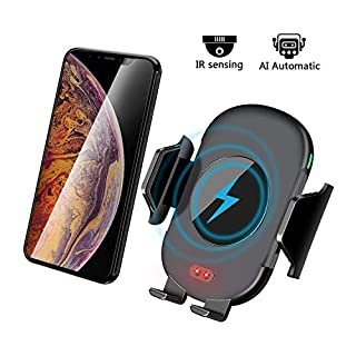 Auto Car Fast Wireless Charger-Charging Stand Works With iPhone X/Xs,iPhone Xs Max/XR,8/8 Plus,Samsung S9/S9 Plus,S8 Plus,S7 S6 edge Plus,Note 9,Note 8,Note 5 etc Qi Device (Car Wireless Charger)