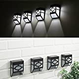 Garden mile® Pack Of 4 NEW Tiffany Style Black And White Modern Oriental Style Solar Powered LED Outdoor mounted Wall Lights. Contemporary Garden Lighting For Walkways, Fences Or Sheds