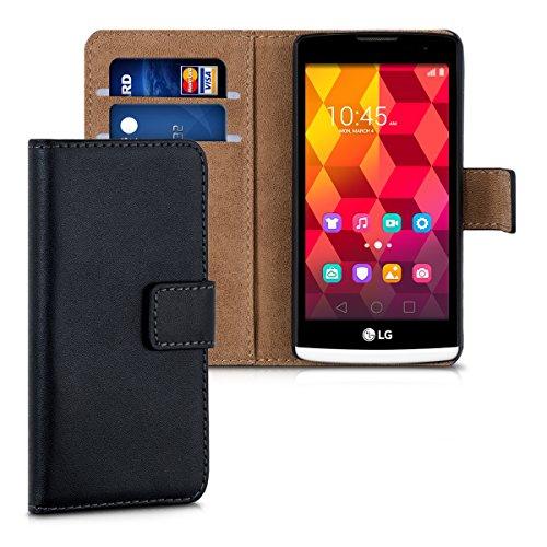 kwmobile Hülle für LG Leon 3G/4G - Wallet Case Handy Schutzhülle Kunstleder - Handycover Klapphülle mit Kartenfach und Ständer Schwarz