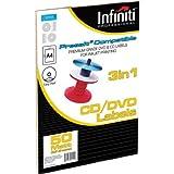 Infiniti - Papel blanco para etiquetas de CD (A4, 50 unidades)