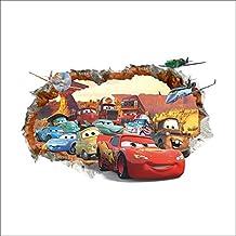 Oulique ® 3D Aufkleber Cars McQueen im Wanddurchbruch Loch