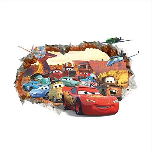Oulique 3D Aufkleber Cars McQueen im Wanddurchbruch Loch (Kinder-wand-sticker-cars)