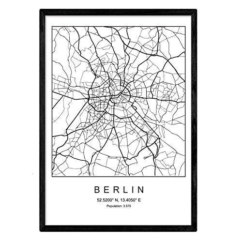 Nacnic Lámina Mapa Ciudad Berlin Estilo nordico Blanco