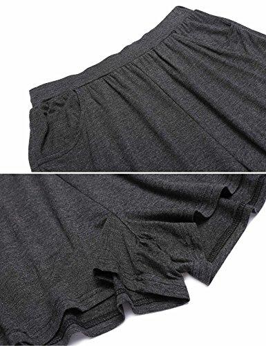 Avidlove Damen Schlafanzuge Pyjama Set Kurz Nachtwasche Unifarbe Kurzarm Shirt & Shorts Viskose Zweiteiliger Nachtwäsche Basic Hausanzug Grau