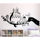 Adhesivo de pared de Mi Vecino Totoro, vinilo, negro, pequeño
