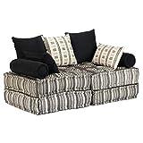 vidaXL Schlafsofa 2-Sitzer Modular Stoff Gestreift Schlafcouch Sofabett Sofa