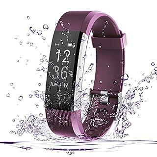 Fitness Tracker, AmyTech Aktivitätstracker mit intergrierter Herzfrequenzmessung Pulsuhr IP67 Wasserdicht Smart Armband für Android und IOS Smartphones (Violett)