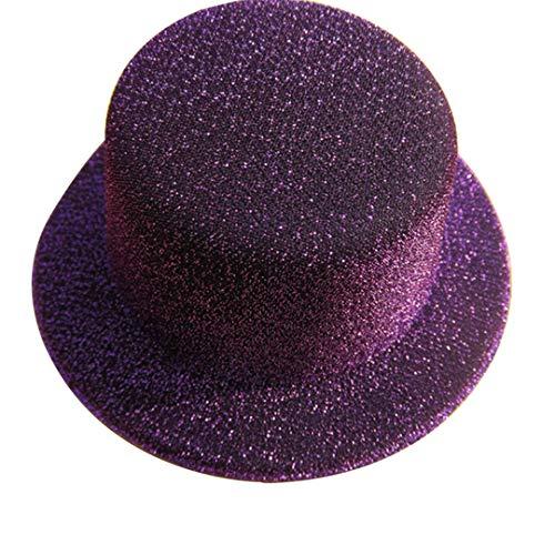 OLADO Glitter Mini Flat Top Hats für Frauen Fascinator Hüte Party Filz Basis Alligator Haarspangen