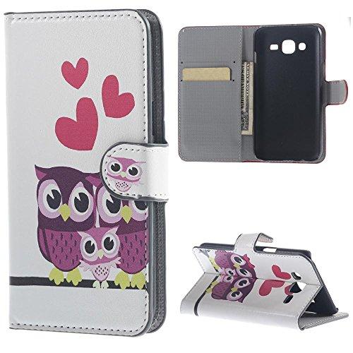 Schutzhülle für Samsung Galaxy J1 SM-J100 Tasche Muster PU Leder [Flip Wallet Case] Cover Hülle Handy Tasche Etui Schale mit Standfunktion Kredit Kartenfächer - Drei Eulen