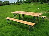 Garden Friend Set birra rettangolare 1 tavolo e 2 panche 80 x 200 cm, Legno