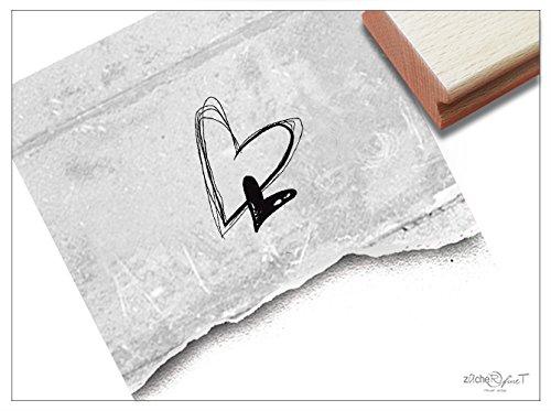 Stempel - Motivstempel Doppel-Herz ♡♡ (Klein) - Wundervoller Bildstempel für Ganz persönliche Nachrichten - Hübsch und Zeitlos - von zAcheR-fineT -
