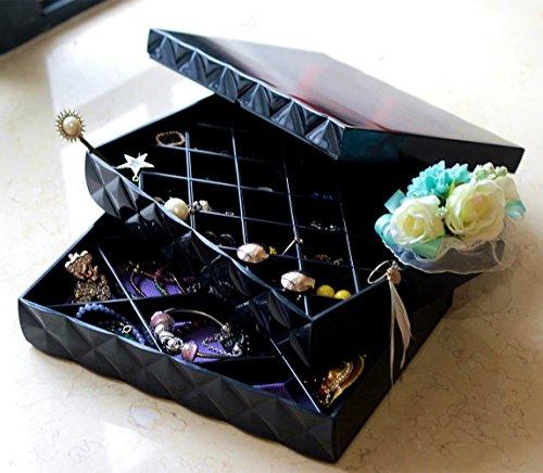 ceciinion Zweischichtige Jewelry Box Organizer Display Aufbewahrungsbox Fall, Jewelry Treasure Box (schwarz)
