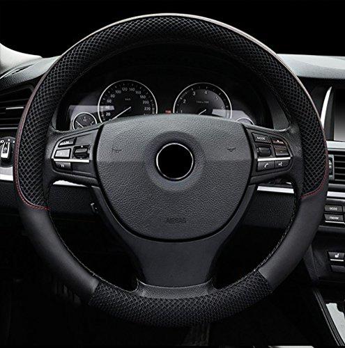 FREESOO Coprivolante Traspirante, Antiscivolo Copertura di Volante Universale 38cm Accessori dell'automobile per la Macchina Nero