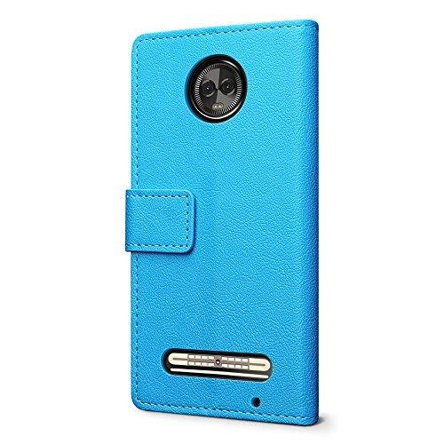SLEO Hülle für Motorola Moto Z3 Play Hülle,PU lederhülle [Vollständigen Schutz] [Kreditkartenfach] Flip Brieftasche Schutzhülle im Bookstyle für Motorola Moto Z3 Play- Blau