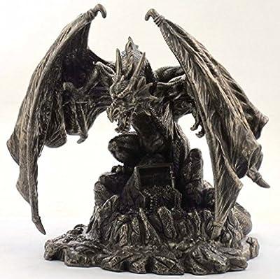 Dragon Bronze Figurine with Treasure Hoard