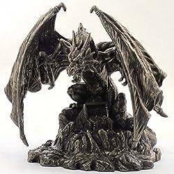 Dragón bronce figura decorativa con tesoro