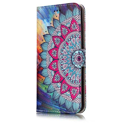 Custodia LG G6, LG G6 Flip Case Leather, SainCat Custodia in Pelle Cover per LG G6, Anti-Scratch Book Style Protettiva Caso PU Leather Flip Portafoglio Custodia Libro Protettiva Custodia a Portafoglio Fiore Metà