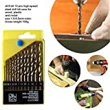 #6: Professional Tool- Drill Bit Set 13 Pieces for Wood, Malleable Iron, Aluminium, Plastic | Drill bit Set for Metal |Drill bit Set hex Shank | Drill bit Set and Drill | Power Tool Combos |
