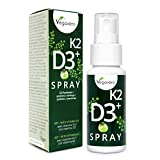 VITAMINA D3 + K2 Vegavero | formato SPRAY | Assorbimento immediato | 1 spray = 20 mcg di D3 e 75 mcg di K2 | Gusto Mela Verde | 25 ml = 125 spray | Vegan