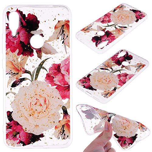 Shinyzone Transparent Flüssigkeit Handy Hülle für Xiaomi Redmi Note 7,Glänzende Hülle mit 3D Cartoon Muster Durchsichtige Silikonhülle für Xiaomi Redmi Note 7(Blume) - Flüssigkeit Blumen