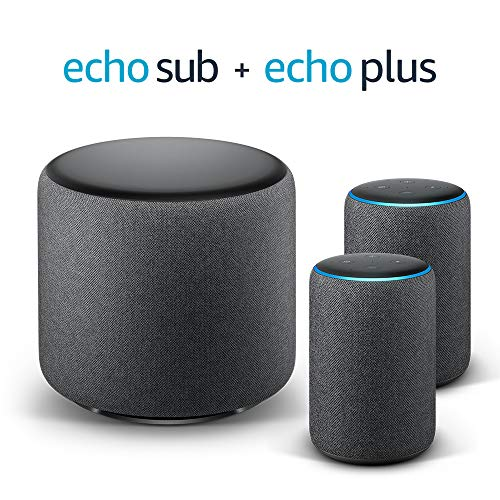 Echo Plus Stereo System - 2 Echo Plus (2.ª generación), Tela de color negro + 1 Echo Sub