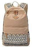 Panegy Damen Mädchen Mode Design Drucken Punkt Canvas Schulrucksack Laptop Reisen Rucksack für Freizeit Camping Picknick Außflug Sports Backpack - Khaki
