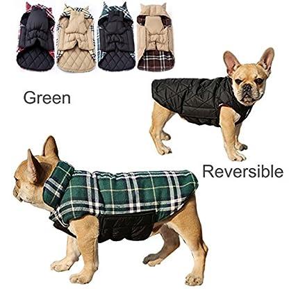 IREENUO Dog Reversible Plaid Coat Autumn Winter Warm Cozy Waistcoat British Style Dog Padded Jacket for Small Medium… 1