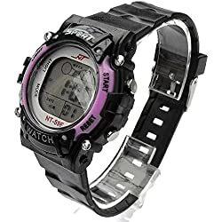 QBD Girl's Womens Super Value Waterproof Multi Function LED Digital Stopwatch Alarm Backlight Sports Wrist Watch (V-Purple)
