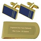 Select Gifts RAF Airforce Insignias de Rango Teniente de Vuelo de Tono Oro Gemelos Money Clip Grabado Set de Regalo