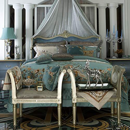 HIUGHJ steppenLuxury Royal Embroidery 120S / 1000TC Ägyptische Baumwolle Palace Bettwäsche-Set Blue Bettbezug Bettlaken Bettwäsche Kissenbezüge 4pcs-King 7pcs -