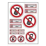 Brett A4Aufkleber-Handy verboten selbstklebend–B18Autobatterie