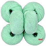 #3: M.G 100% Acrylic Wool Grape Green Pack of 6 (150 gm) Baby Soft Wool Ball Hand knitting wool / Art Craft soft fingering crochet hook yarn, needle knitting yarn thread dyed