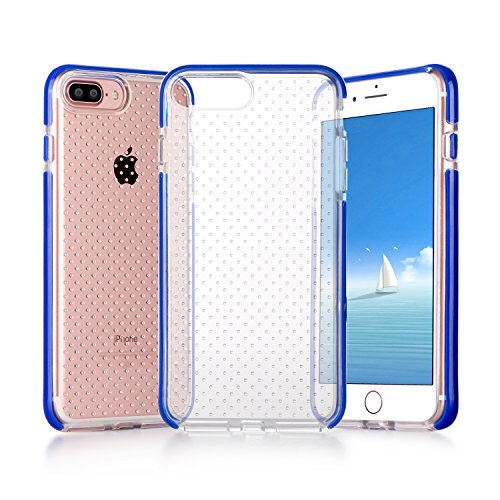 iPhone 8 Plus Hülle , iPhone 7 Plus Hülle, Fyy® [Patentiert Stoßfest] [Militärisches Materia] Passgenaue stoßfeste Silikon-Gummi Hülle für Apple iPhone 8/7 Plus , Grau AA-Schwarzblau