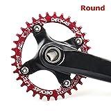 grofitness Aluminium MTB Single Kettenblatt Runden BCD 104 mm Kettenblatt Reparatur Fahrrad Teile, rot, 34T