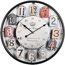 Tosbess 50CM Relojes de Pared Silencioso Grandes Originales de Metal Estilo Vintage para el hogar/