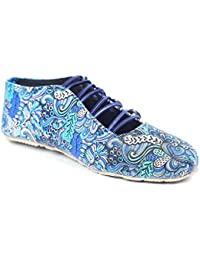 Menter Women's Casual Leaf Print Ethenic And Traditinol Footwear/Shoe/ Belly With Upper Button Design