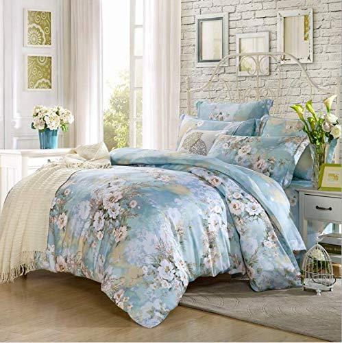 Moderne Bettwäsche Set Super King Size Bettwäsche Reaktivdruck Bettbezug Set Pastoralen Stil Hause Bett Set Flaches Blatt Blau 180X220 cm