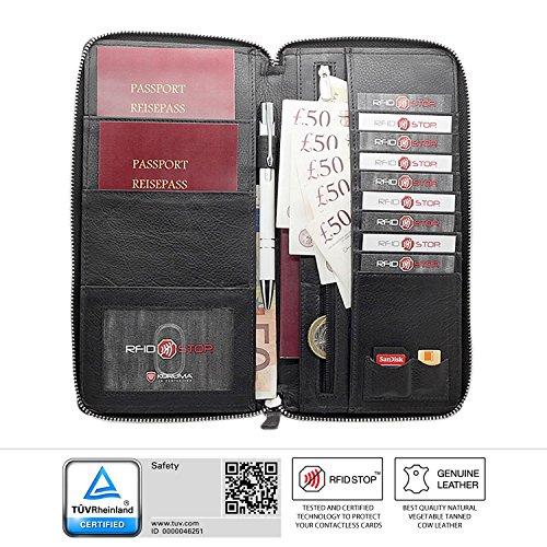 Koruma-Portafoglio da viaggio per passaporto biometrico, carte di credito e bancomat, porta documenti, colore: Nero
