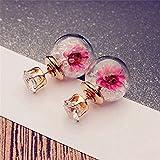 ODN Doppel-Ohrstecker Glaskugel und Strass Trockenblumen Front-Back-Ohrringe in verschiedenen Farben (Weiß)