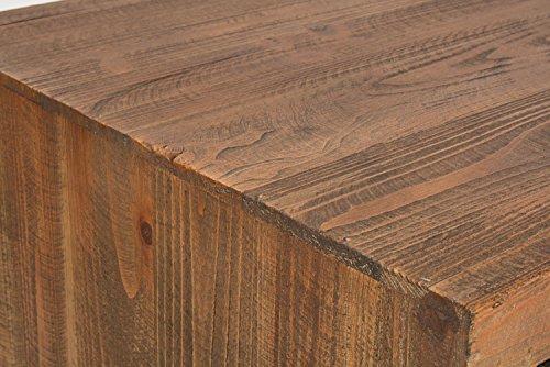 ts-ideen TV-Bank Lowboard HiFi-Schrank Vintage Antik Shabby Design Used Style Massivholz braun zwei Türen mit buntem Muster - 9