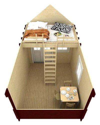 Gartenhaus BUNKIE mit Schlafboden und Vordach - 3